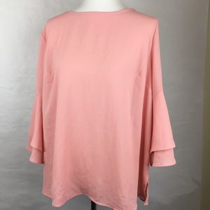 Ava and Viv Blush Pink Bell Sleeve Blouse
